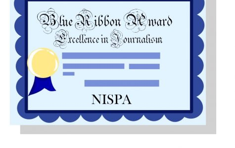 East's newspaper staff received several NISPA awards this year, including a blue ribbon for editorial writing awarded to co-editors Joseph Beeson and John Michelotti.