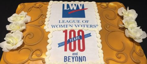 """This gold cake from their 100th anniversary celebration represents the Gold Ballroom of the Congress Hotel in which the League of Women Voters was founded in 1920."""