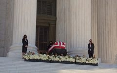 Supreme Court Justice Ruth Bader Ginsberg lies in state at the nation's capitol at the top of the Supreme Court steps.