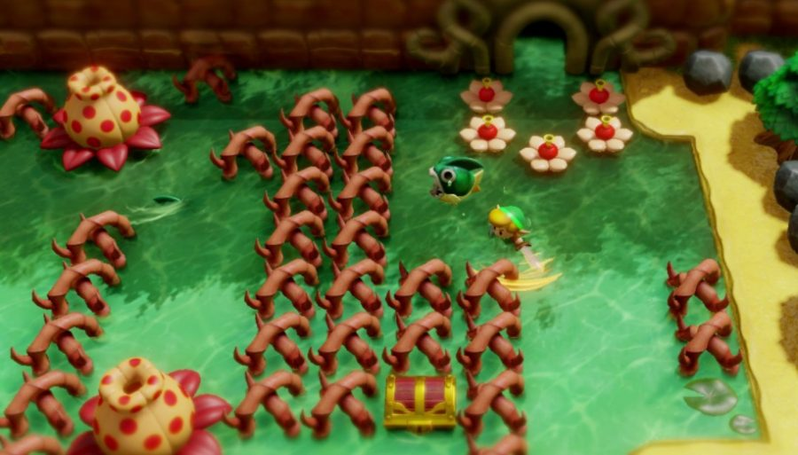 Screenshot of Legend of Zelda--Link's Awakening--one game in the series.