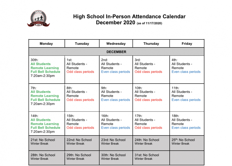 D303's high school calendar for the month of December, detailing the full remote schedule.