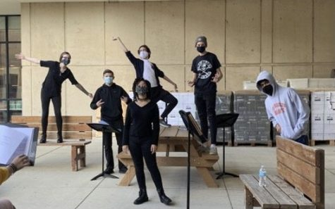 Easts theater ensemble created radio shows to fill the gaps left by live show shutdown. Radio show cast poses for a photo during rehearsal: Elizabeth Novak, Andrew Biallas, Ava Johnson, Parker Moran, Ryan Forde, Caven Menezese.