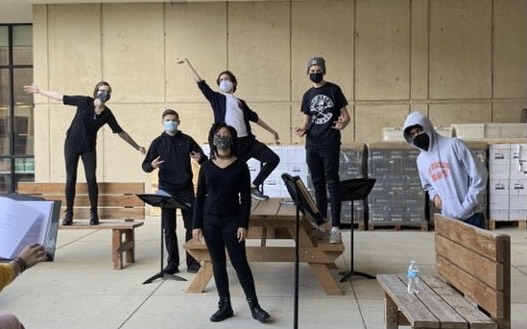 East's theater ensemble created radio shows to fill the gaps left by live show shutdown. Radio show cast poses for a photo during rehearsal: Elizabeth Novak, Andrew Biallas, Ava Johnson, Parker Moran, Ryan Forde, Caven Menezese.