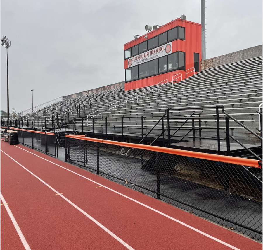 The+East+stands+have+been+empty+of+fans+for+over+a+year.+With+new+IHSA+regulations%2C+they+will+once+again+seat+spectators.+Photo+by+Katie+Kempff.+
