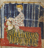 """An illustration from the 1400s edition of """"Sir Gawaine and the Green Knight"""". The current film is based on the story found in the poem by Gawaine the Poet. Wikimedia."""
